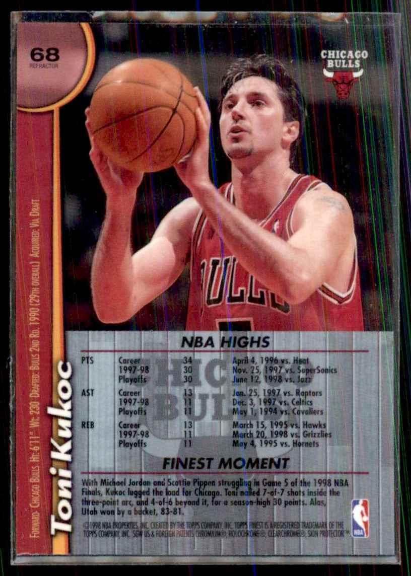 1998-99 Finest Refractors Toni Kukoc #68 card back image