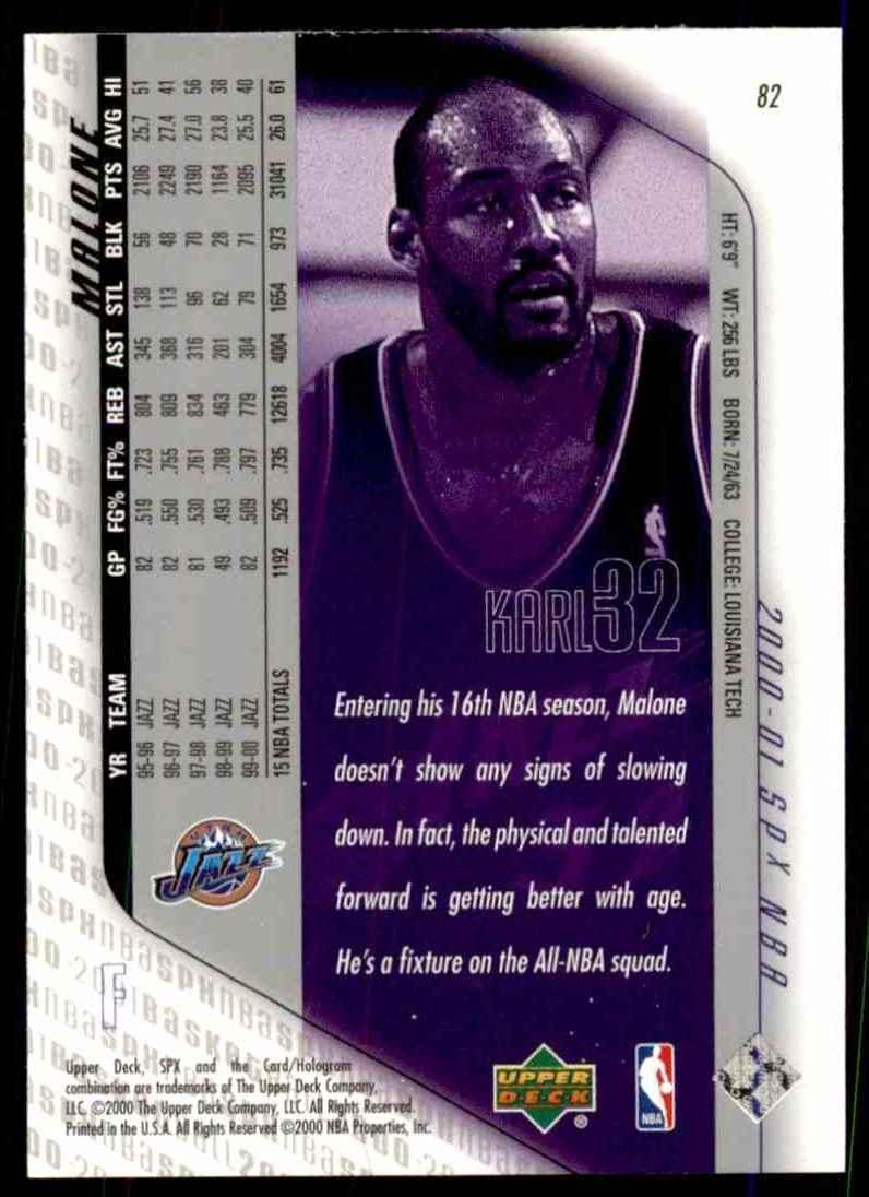 2000-01 SPx Karl Malone #82 card back image