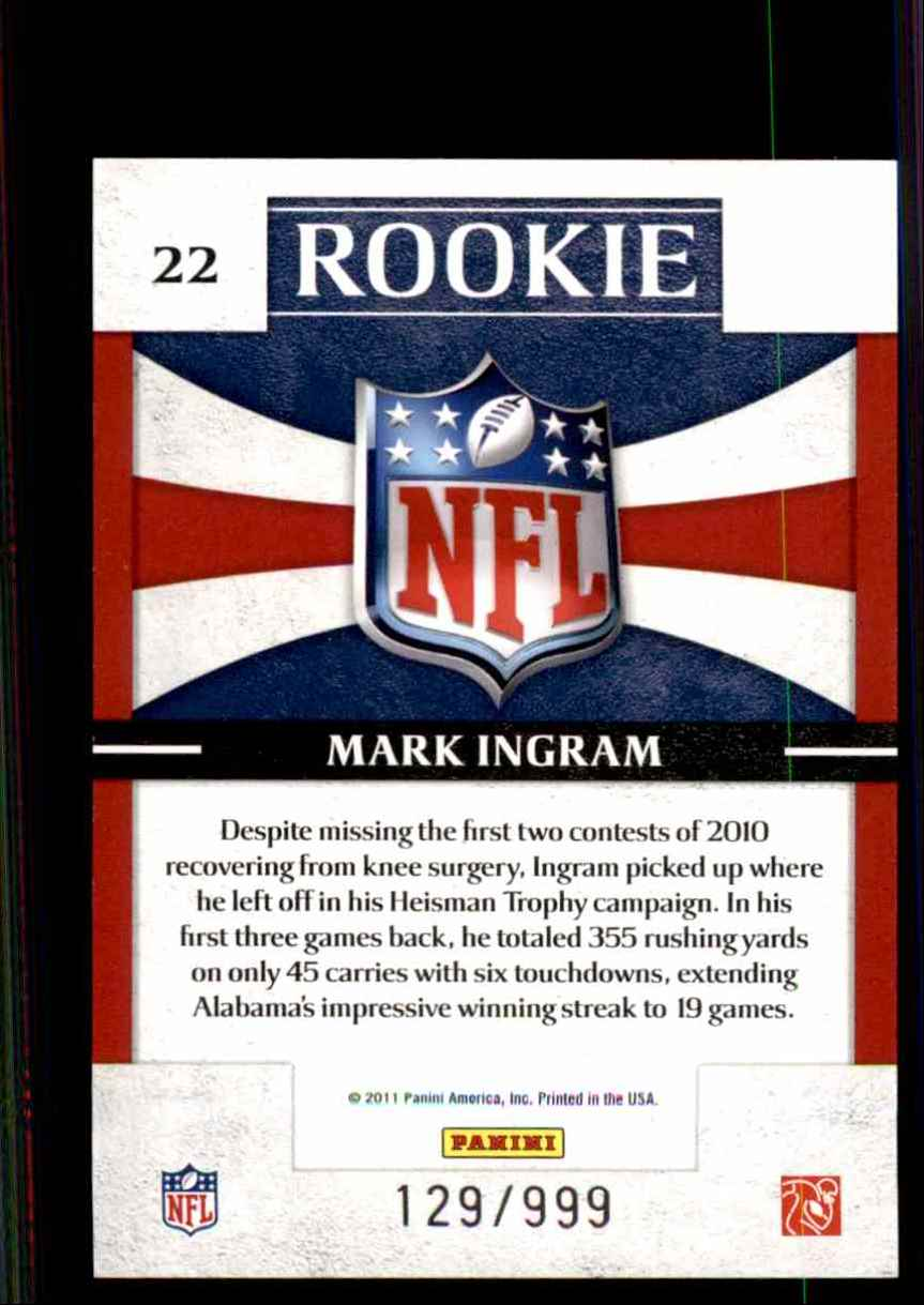 2011 Donruss Elite Rookie NFL Shield Mark Ingram #22 card back image