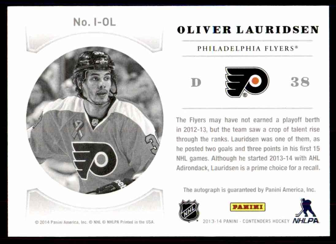 2013-14 Panini Contenders NHL Ink ! Olivier Lauridsen #I-OL card back image