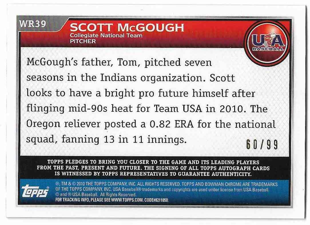 2010 Bowman Chrome Scott McGough #WR39 card back image