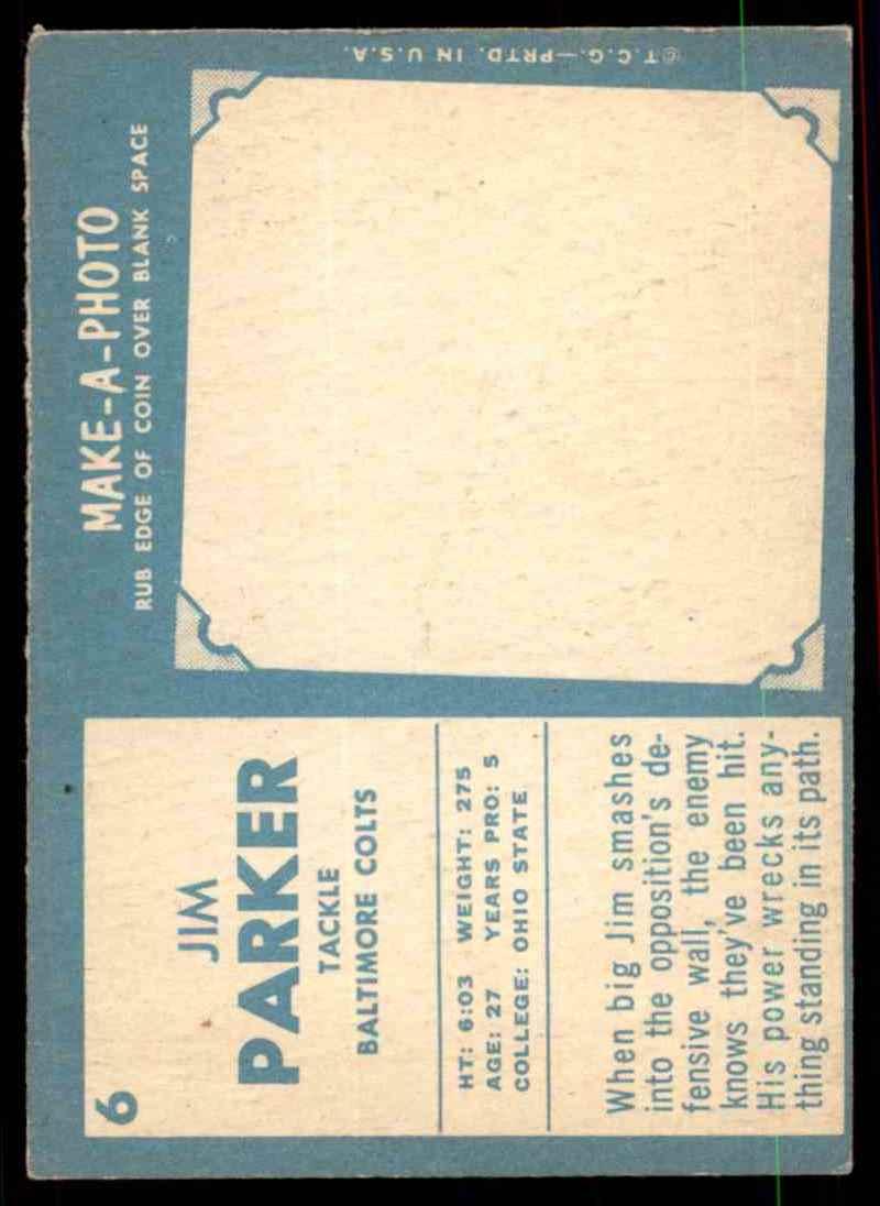 1961 Topps Jim Parker #6 card back image