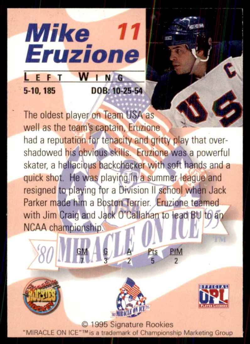 1995-96 Signature Rookies Miracle On Ice Mike Eruzione #11 card back image