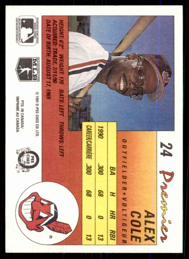 1991 O-Pee-Chee Premier Alex Cole #24 card back image