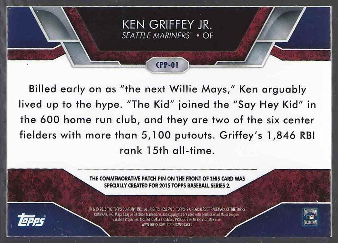 2015 Topps Commemorative Patch Pins Ken Griffey JR. #CPP01 card back image