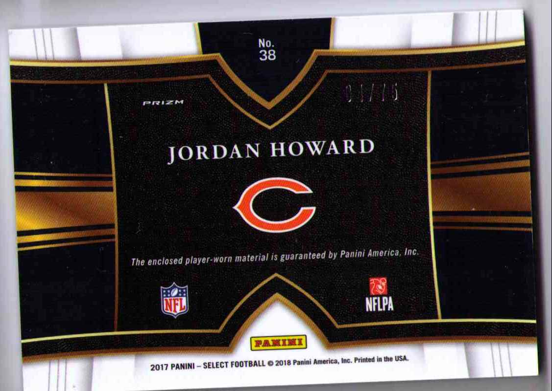 2017 Select Swatches Prizm Copper 3 Color Patch Jordan Howard #38 card back image