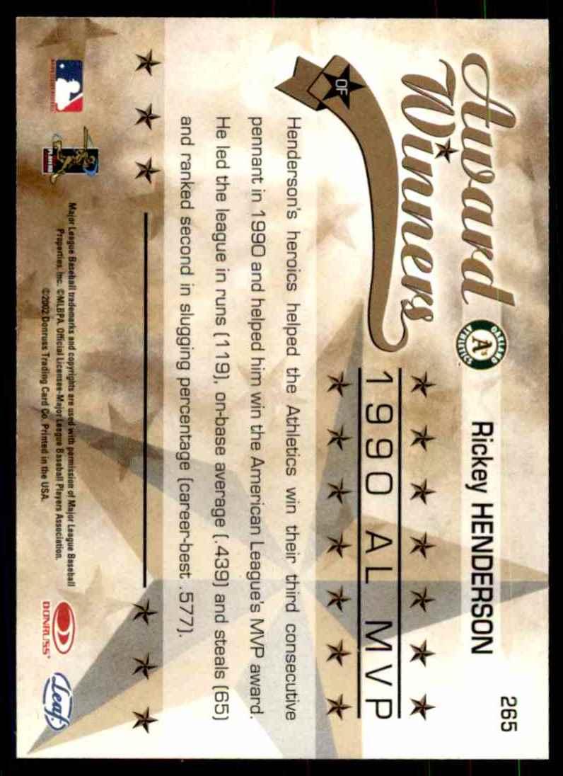 2002 Leaf Rookies & Stars Rickey Henderson 90 MVP #265 card back image