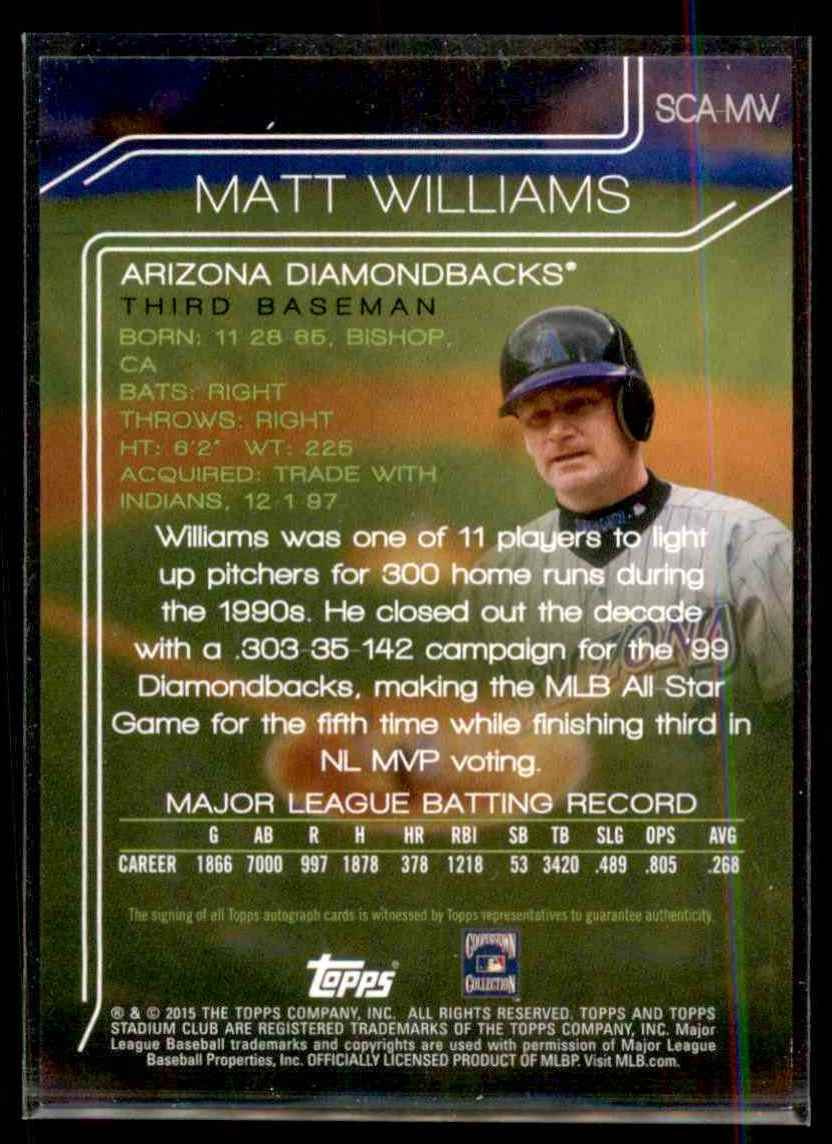 2015 Stadium Club Autographs Matt Williams #SCAMW card back image