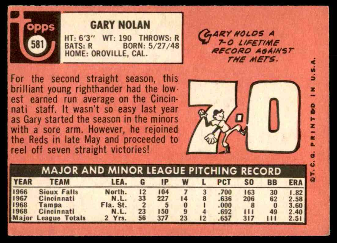 1969 Topps Gary Nolan #581 card back image