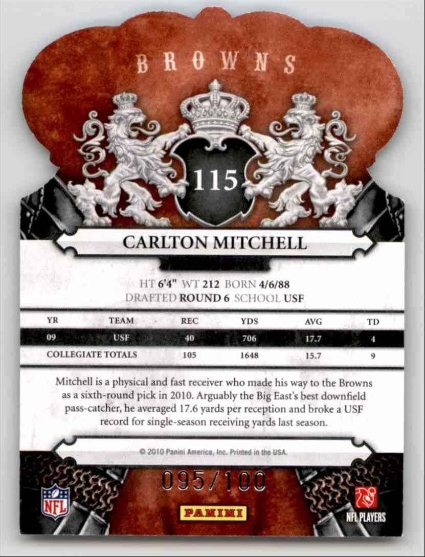 2010 Crown Royale Blue Carlton Mitchell #115 card back image