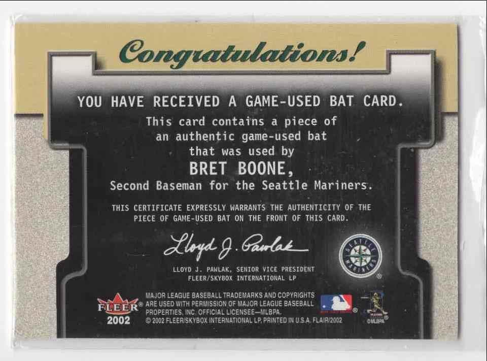 2002 Fleer Flair Power Tools Bret Boone card back image