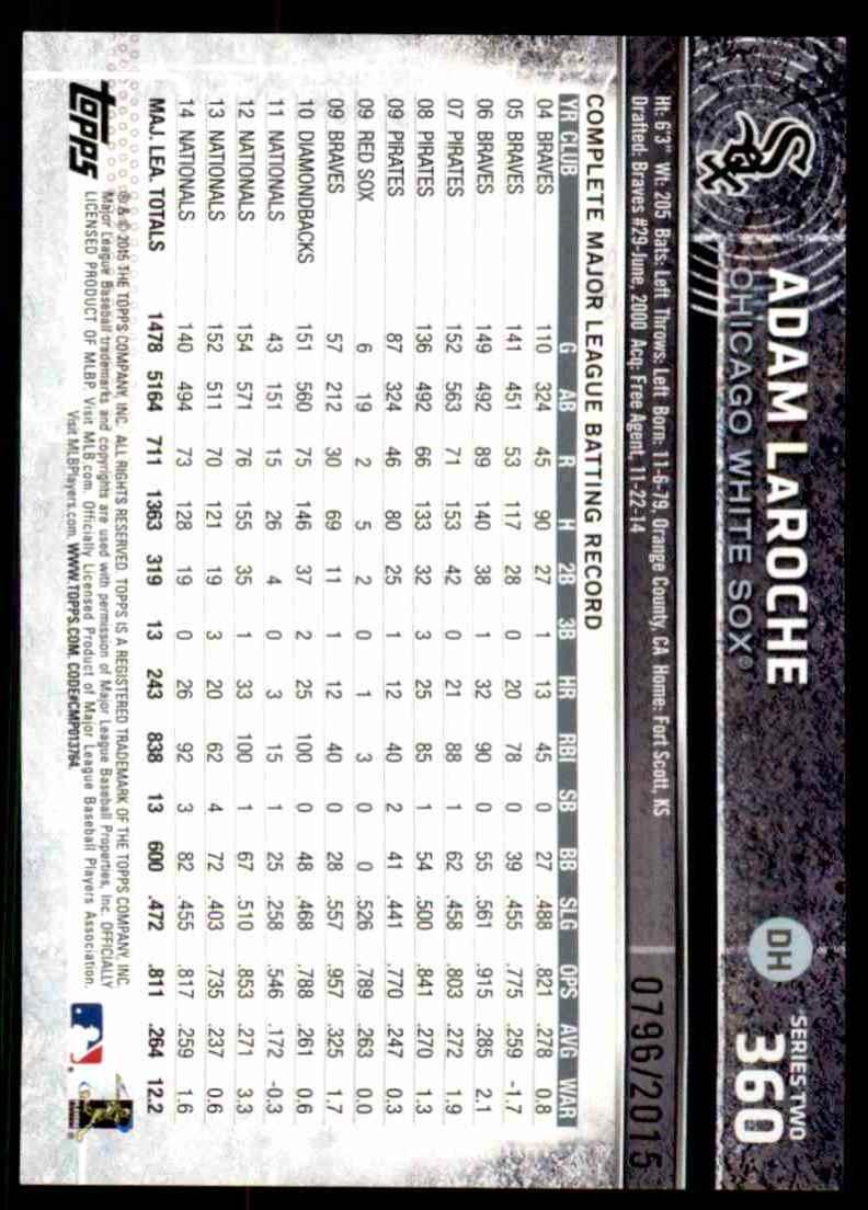 2015 Topps Gold Adam LaRoche #360 card back image