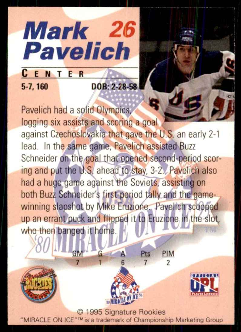 1995-96 Signature Rookies Miracle On Ice Mark Pavelich #26 card back image
