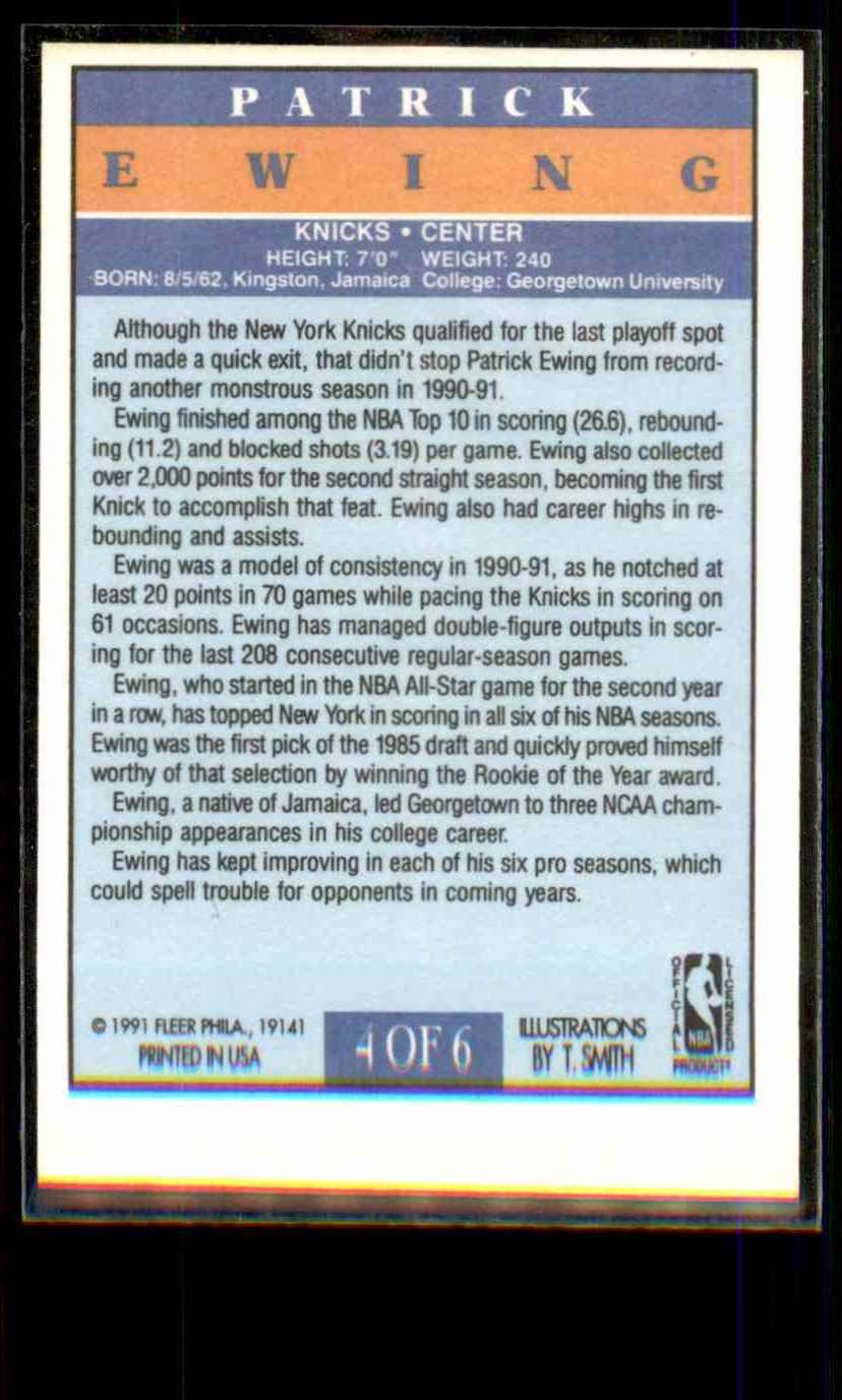 1991-92 Fleer Pro-Vision Patrick Ewing #4 card back image