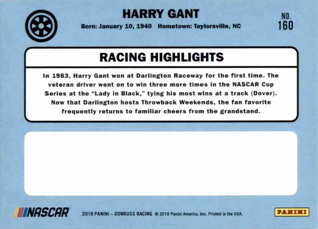 2019 Donruss Silver Harry Gant Retro #160 card back image