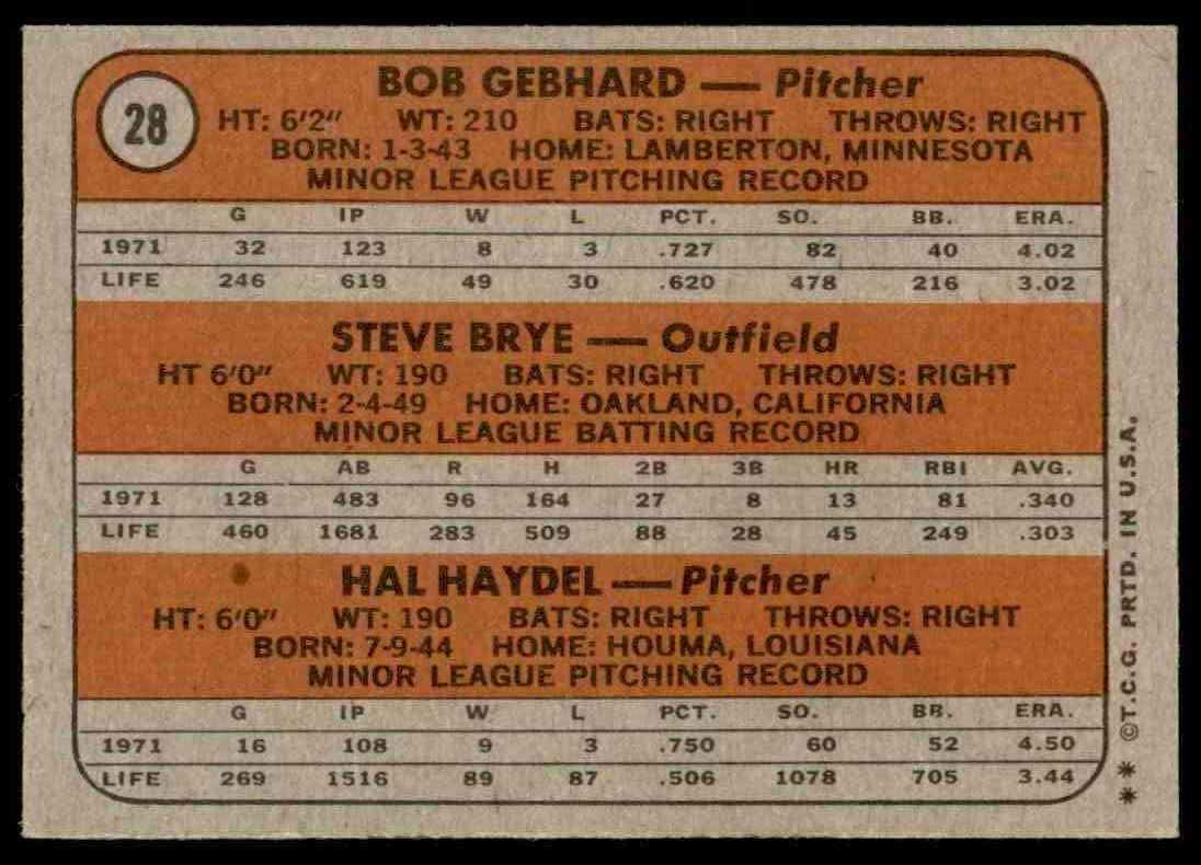 1972 Topps Bob Gebhard, Steve Brye , Hal Haydel #28 card back image