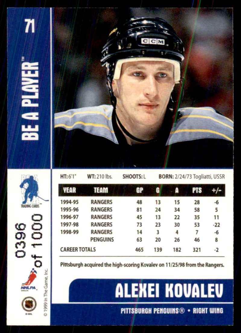 1999-00 Bap Memorabilia Silver Alexei Kovalev #71 card back image