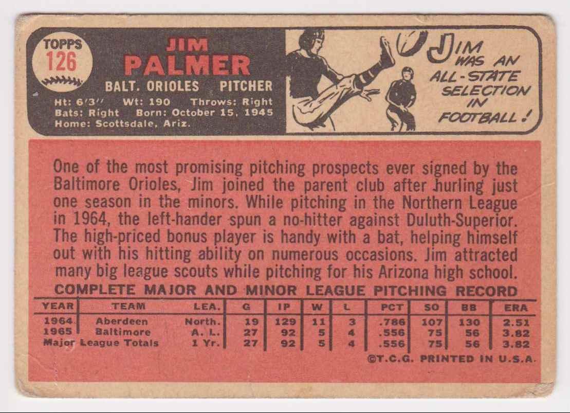 1966 Topps Base (Good) Jim Palmer #126 card back image