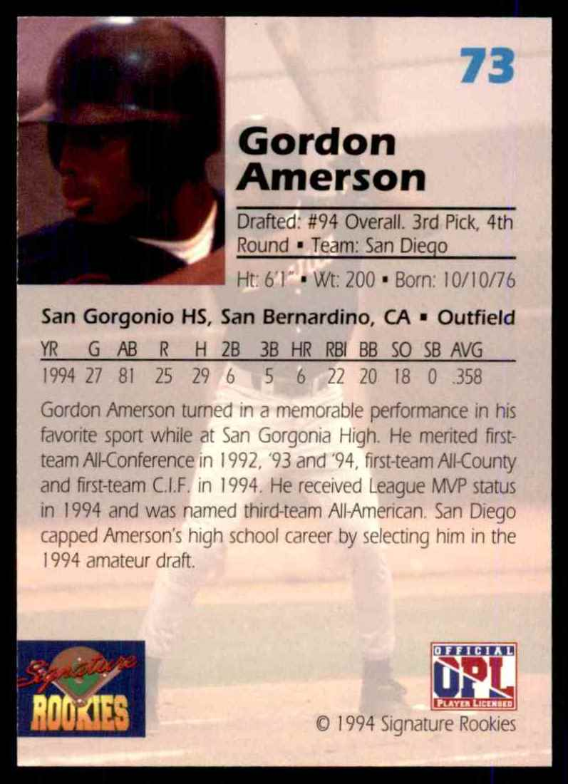 1994 Signature Rookies Gordon Amerson #73 card back image