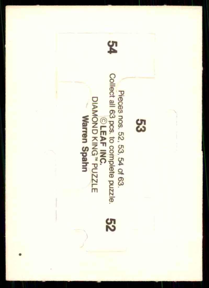 1989 Donruss Warren Spahn Puzzle Spahn Puzzle 52-54 #52 card back image