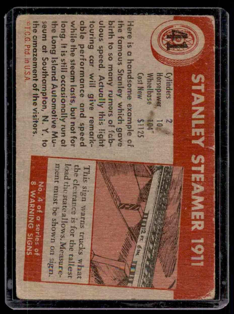 1954 World On Wheels Stanley Steamer #41 card back image