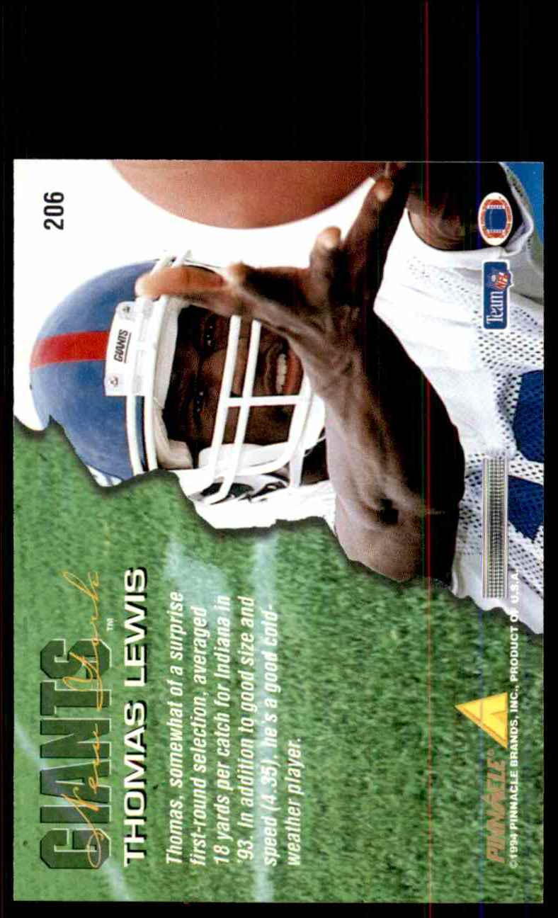 1994 Pinnacle Thomas Lewis RC #206 card back image