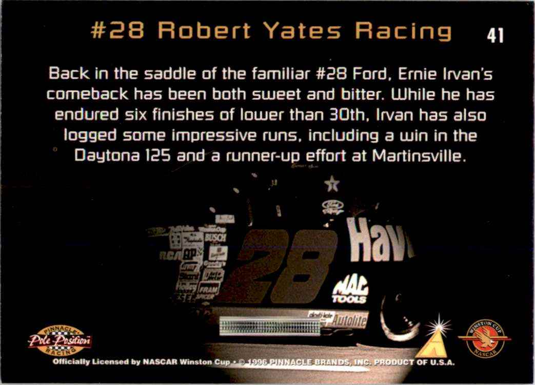 1996 Pinnacle Pole Position Ernie Irvan's Car #41 card back image