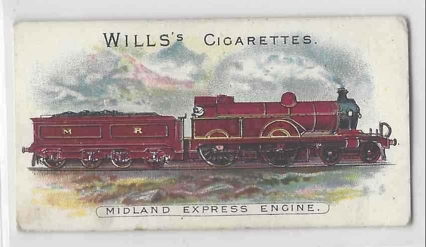 1901 Will's Locomotives & Rolling Stock Midland Express Engine #NON card front image