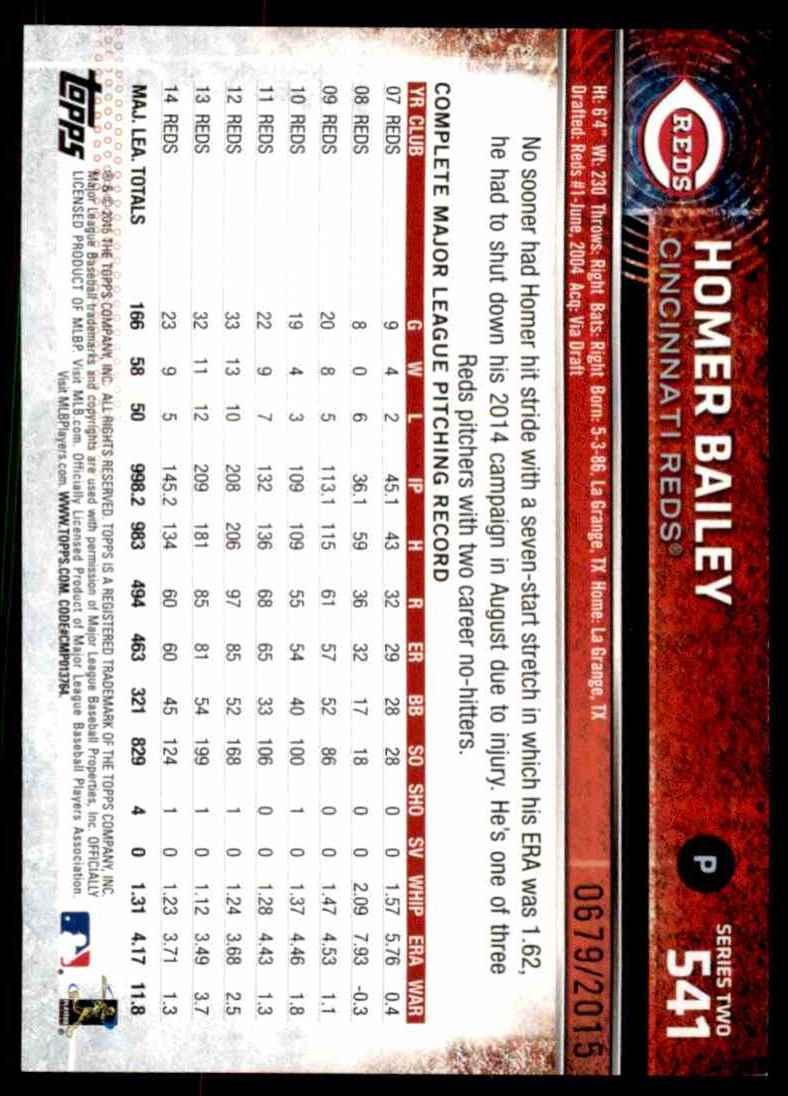 2015 Topps Gold Homer Bailey #541 card back image