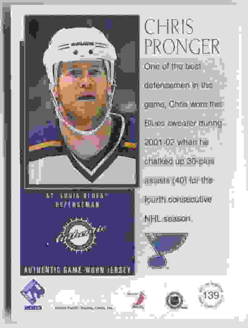 2002-03 Pacific Private Stock Reserve Patches Chris Pronger #139 card back image