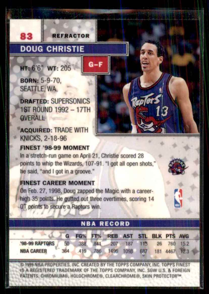 1999-00 Finest Refractors Doug Christie #83 card back image
