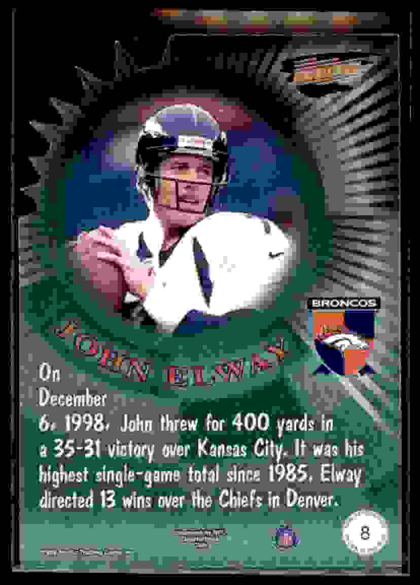 1999 Pacific Revolution Thorn In The Side John Elway #8 card back image