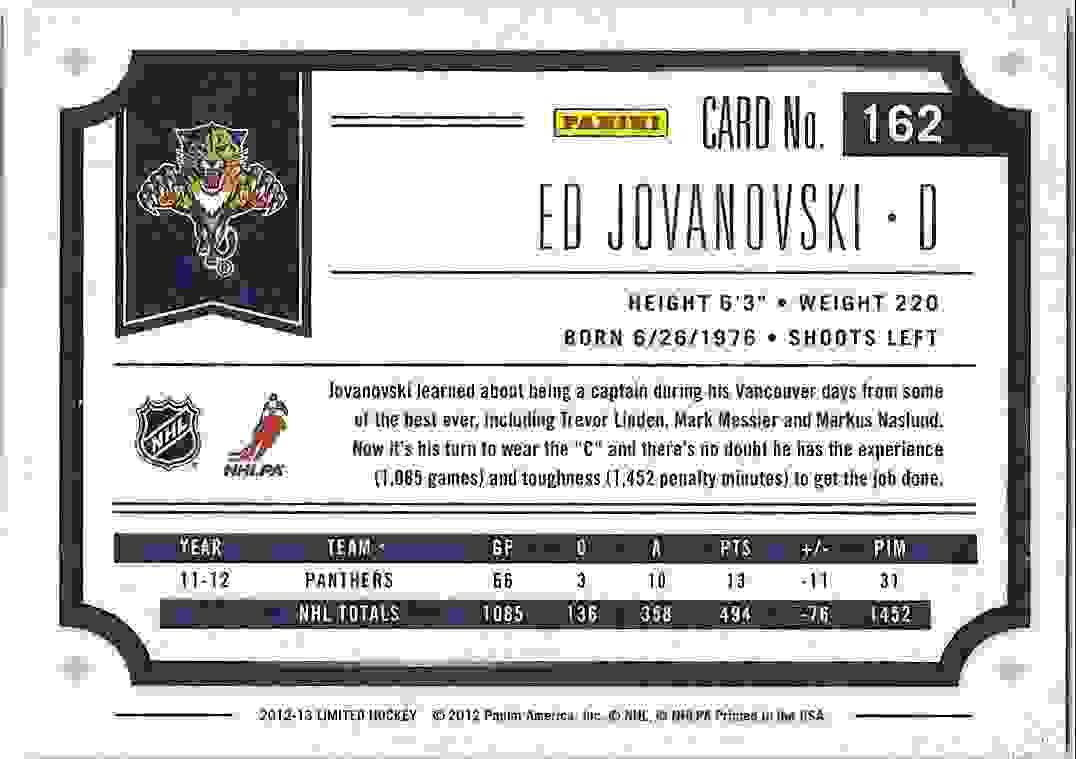 2012-13 Panini Limited Ed Jovanovski #162 card back image