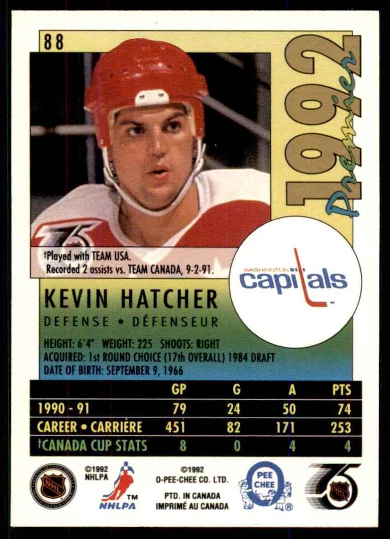1991-92 OPC Premier Kevin Hatcher #88 card back image