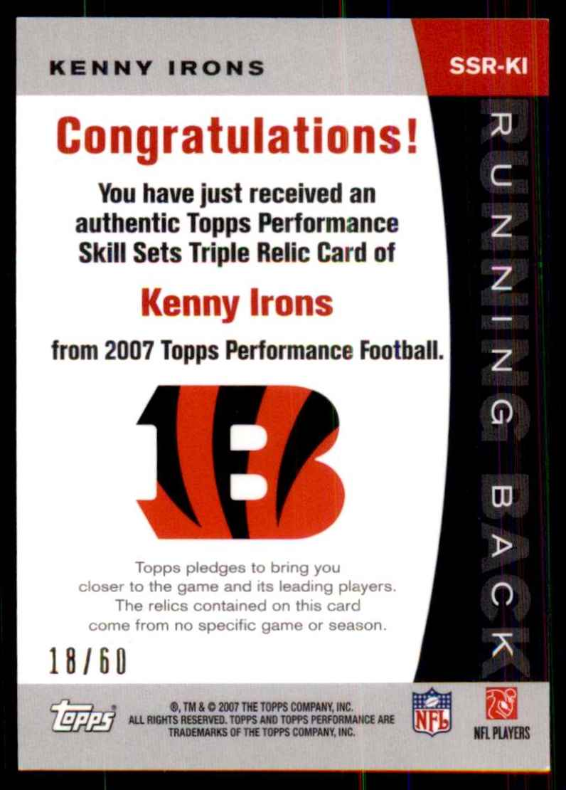 2007 Topps Performance Skill Sets Running Backs Triple Relics Kenny Irons #SSRKI card back image