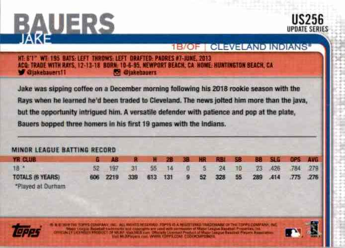 2019 Topps Update Jake Bauers RC #US256 card back image