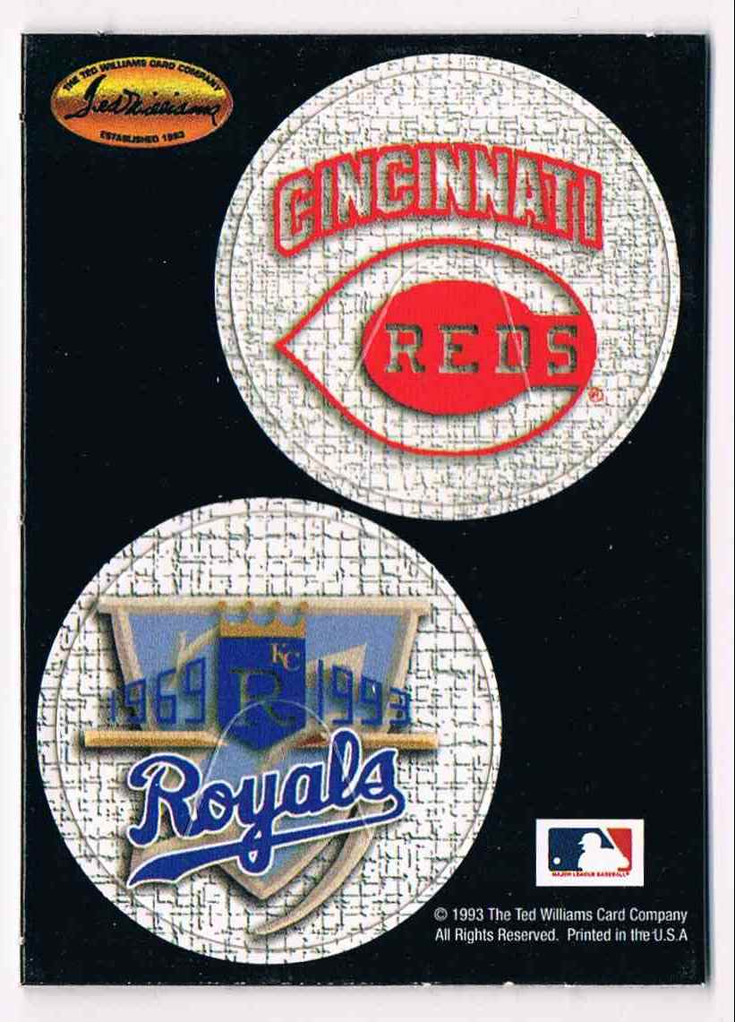 1993 Ted Williams Card Company Pogs Cincinnati Reds, Kansas City Royals #NNO card front image
