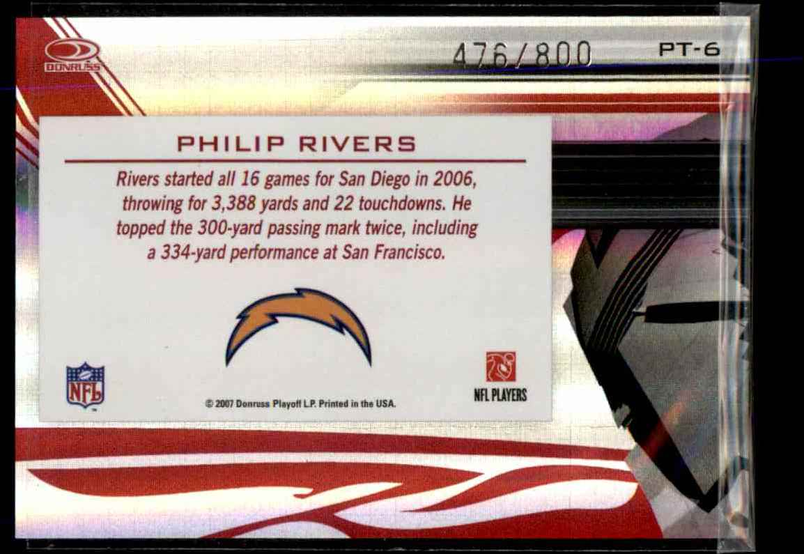 2007 Donruss Elite Passing The Torch Red Philip Rivers #6 card back image