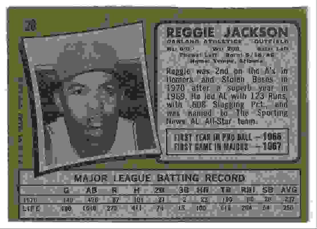 1971 Topps Reggie Jackson EX+ #20 card back image