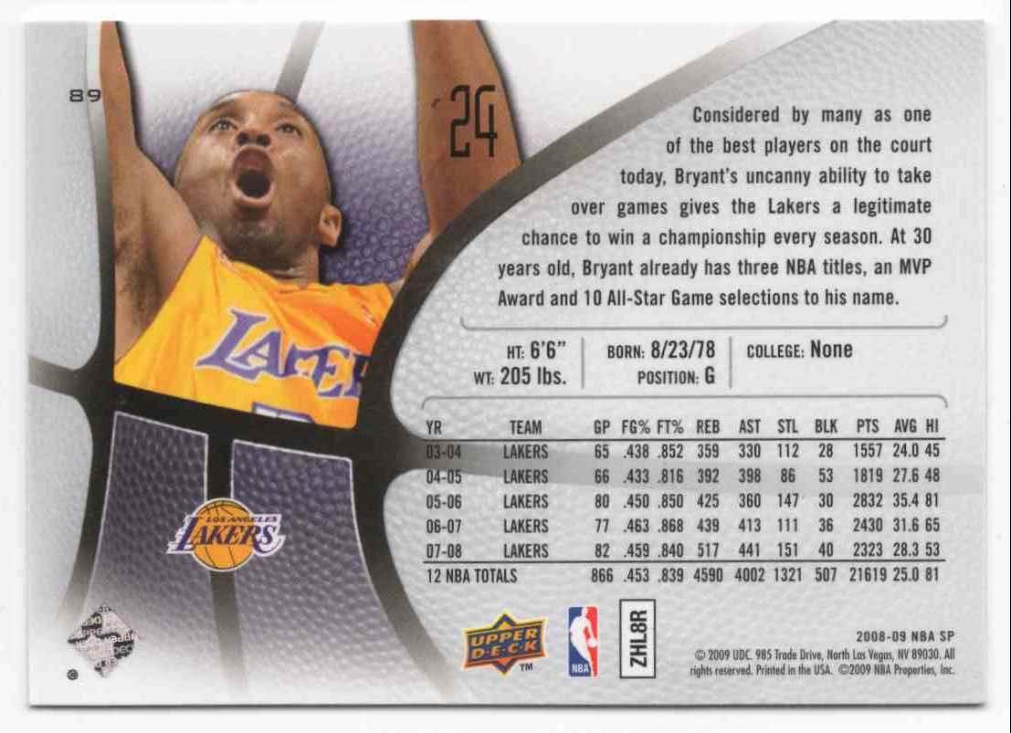 2008-09 SP Authentic Kobe Bryant #89 card back image