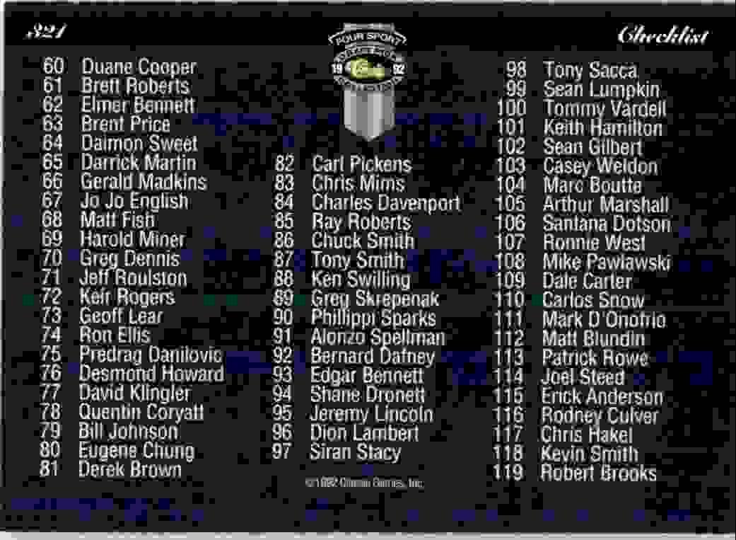 1992-93 Classic Four Sport Checklist #321 card back image