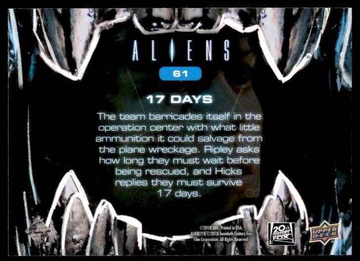 2018 Aliens 17 Days #61 card back image