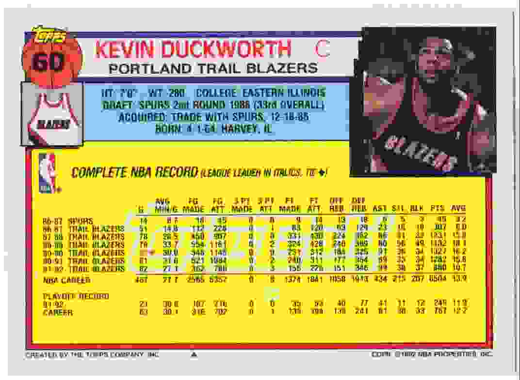 1992 93 Topps Base Gold Kevin Duckworth 60 on Kronozio