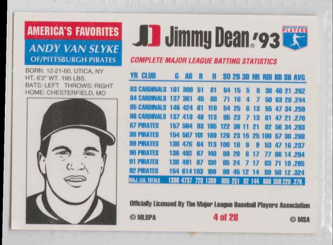 1993 Jimmy Dean Andy Van Slyke #4 on Kronozio
