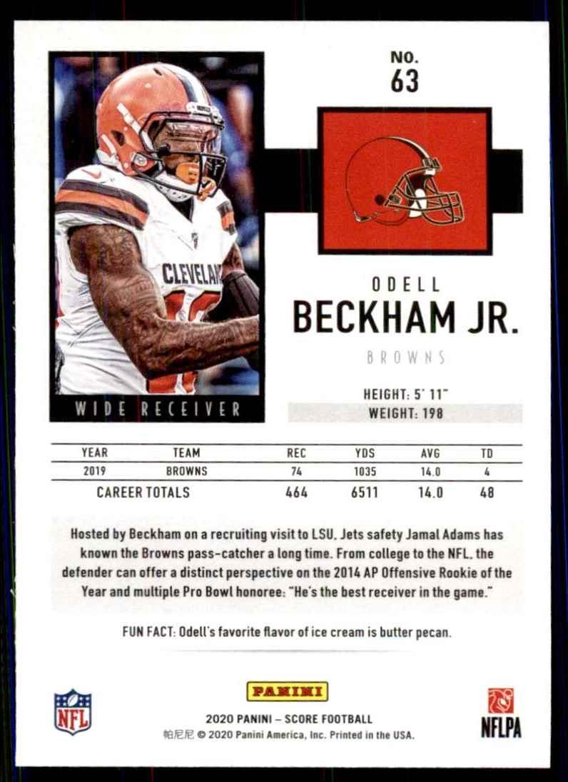 2020 Score Showcase Odell Beckham JR. #63 card back image