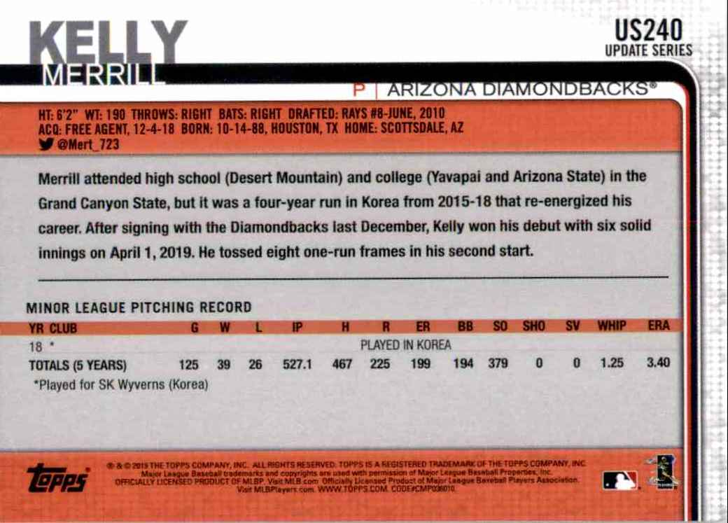 2019 Topps Update Merrill Kelly RC #US240 card back image