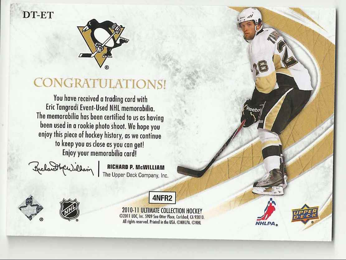 2010-11 Ultimate Collection Debut Threads Eric Tangradi #DT-ET card back image
