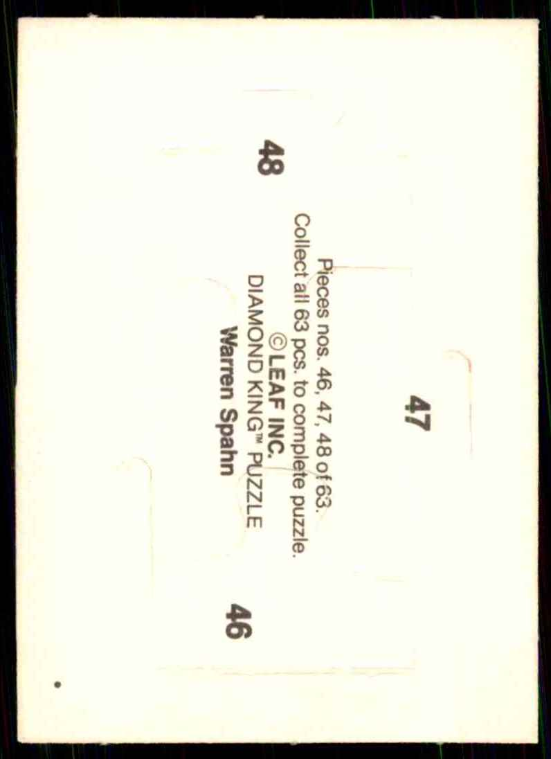 1989 Donruss Warren Spahn Puzzle Spahn Puzzle 46-48 #46 card back image