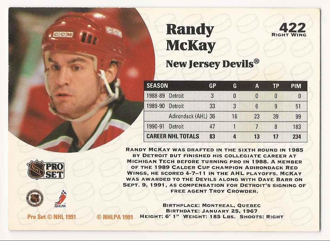 1991-92 Pro Set Randy McKay #422 card back image