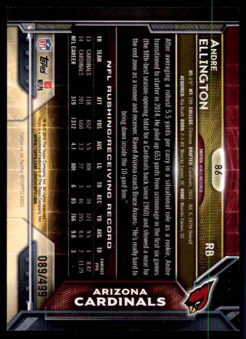 2015 Topps Pink Andre Ellington #86 card back image
